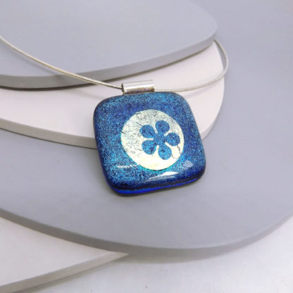 blue dichroic glass necklace with silver foil inclusions