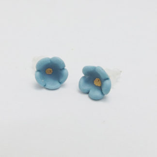Turquoise Porcelain Flower Studs
