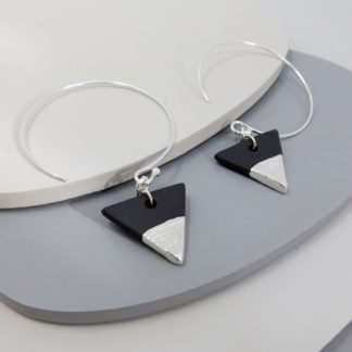 black porcelain earrings with fine silver details by Aurora Lombardo Designs
