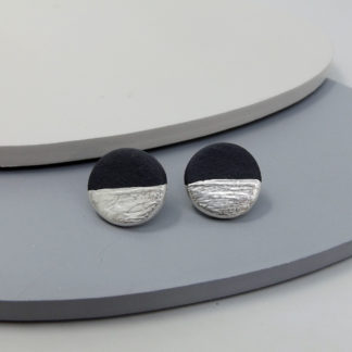 black porcelain studs with fine silver details
