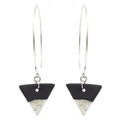 black porcelain drop earrings with fine silver decoarion