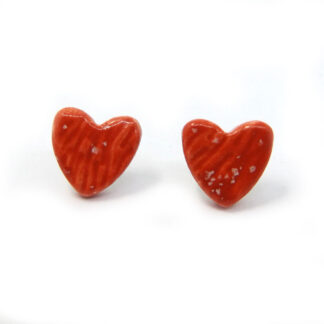 Small Ceramic Heart Studs - Red
