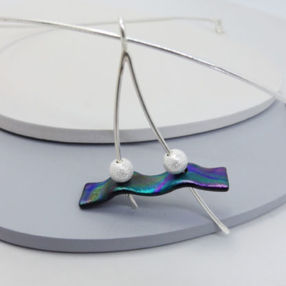 sterling silver and dichroic glass necklace