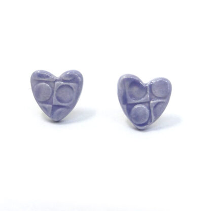 Small Ceramic Heart Studs - Lilac