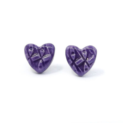 Small Ceramic Heart Studs - Violet