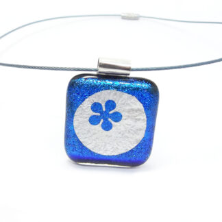 deep blue dichroic glass necklace with silver foil inclusions