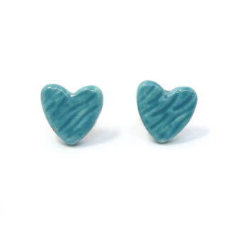 small ceramic heart studs -turquoise