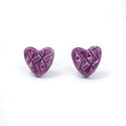 Small Ceramic Heart Studs - Purple