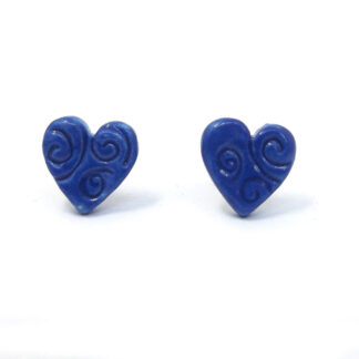 Small Ceramic Heart Studs - Midnight Blue