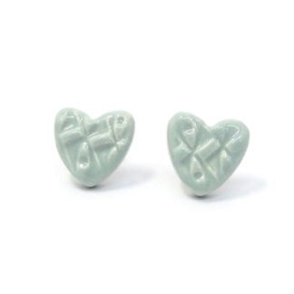 Small Ceramic Heart Studs - duck egg blue