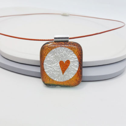 copper red dichroic glass necklace with silver foil inclusions