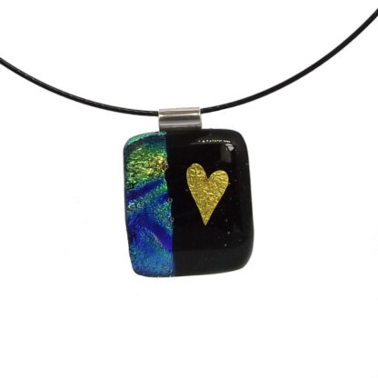 Dichroic glass pendant with gold foil inclusions