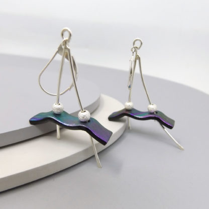sterling silver and dichroic glass earrings