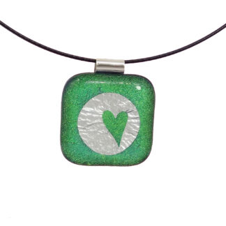 Green dichopric glass pendant with real silver inclusions