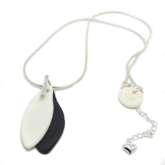 black and white porcelain pendant on sterling silver chain